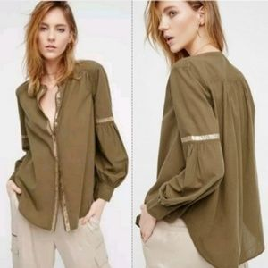 FREE PEOPLE Shimmers & Stripes Top in Green  A2-6
